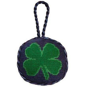 Clover Needlepoint Christmas Ornament in Blue by Smathers & Branson