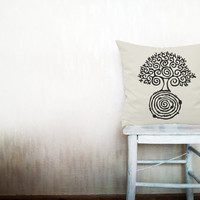 Tree of life pillow decorative throw pillow cover beige cotton toss pillow case hand painted cushion rustic bedding set 18x18 inches
