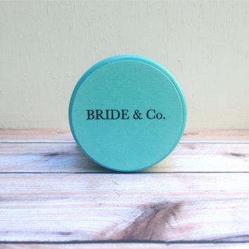 SMALL Personalized Tiffany Blue Jewelry Box - Custom Wood Box, Favor, Decoration