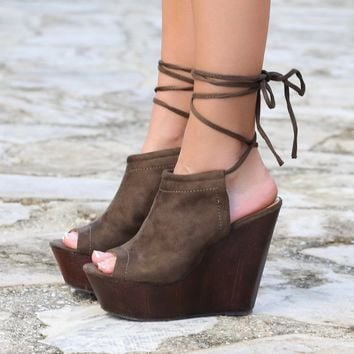 Florence Olive Tie Up Wedges
