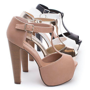 Brina21 by Breckelle's, Peep Toe T-Strap Platform Chunky Heel Dress Pumps