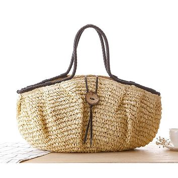 Large Straw Travel Beach Bag