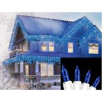 "Set of 300 Blue Mini Icicle Christmas Lights 3"" Spacing - White Wire"