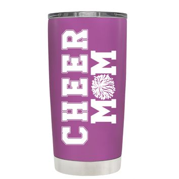 Pom Pom Cheer Mom on Light Violet 20 oz Tumbler Cup