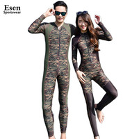 2016 Fashion Lovers Camouflage Wetsuit Surfing Diving Couples swimwear Zipper One piece bathing suit for Women jumpsuit swimsuit