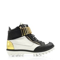 Giuseppe Zanotti Designer Shoes Black and White High-top Sneaker