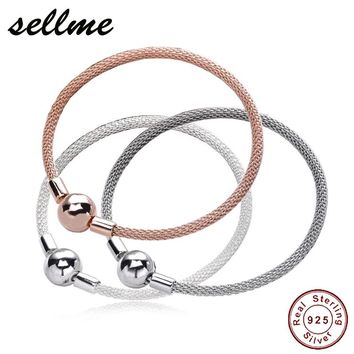 Authentic 925 Sterling Silver Mesh Bracelets Women Snake Chain Bracelet Sterling Silver Jewelry