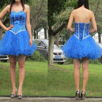 Blue Homecoming Dress Short Prom Party Dresses Corset Back pst0849
