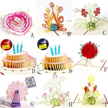 3D Pop Up Cards Valentine Lover Happy Birthday Anniversary Greeting Cards 3d Cutting flower couples design cards set drop ship