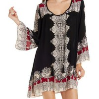 Black Combo Boho Print Shift Dress by Charlotte Russe