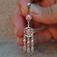 Dream Catcher Fire Opal Pink Ball Belly Ring and Feather 14ga Surgical Stainless Steel
