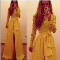 Long Women Lace Dresses Split Evening Party Elegant Long Dress Fashion Sexy Party Clubwear Casual Dress Vestidos Yellow Dresses