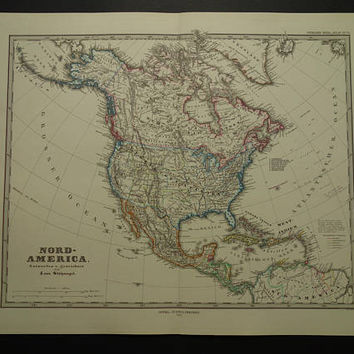 "Antique map of North America - Beautiful original 1879 hand-colored print Large oldposter of US Canada continent vintage maps 14x19"" big"