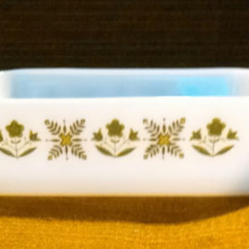 Vintage Anchor Hocking Fire King 8x8 Baking Dish in Meadow Green Pattern