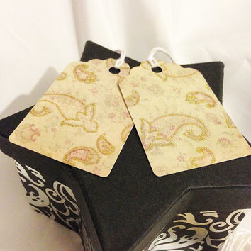 Glitter Gift Tags, Christmas Hang Tags, Fairytale Paper, Faded Floral Pattern, Card Stock, Gift Label, Set of 8,