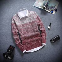 Slim Fitting Gradient Men's Comfortable Knitted Sweater Knitwear
