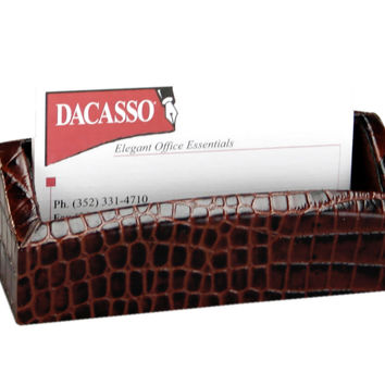 Dacasso Office Desk Tabletop Decorative Black Crocodile Embossed Business Card Holder Display StandBlack Crocodile Embossed Business Card Holder
