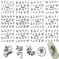 12 Designs in One Sets Nail Art Sticker Kits Black Colors Flower Multi-use DIY Beauty Nails Toes Decals Watermark A241-252