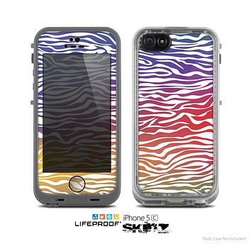 The Colorful Vector Zebra Animal Print Skin for the Apple iPhone 5c LifeProof Case