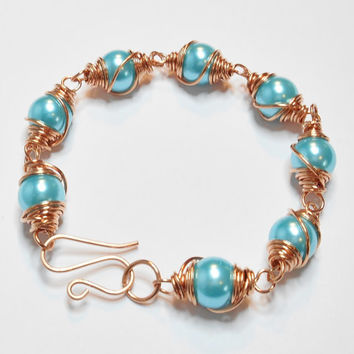 Copper and Ice Blue Wire Wrapped Bracelet with Handmade Toggle