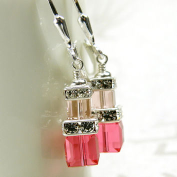 Pink Crystal Earrings, Sterling Silver, Dangle, Petite Cube, Bridesmaid, Handmade Wedding Jewelry, Handmade Jewelry, Spring Fashion