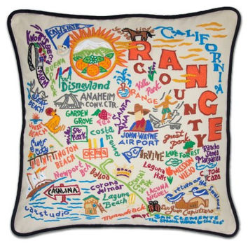 Orange County Hand Embroidered Pillow