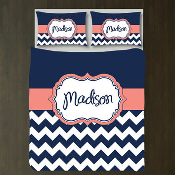 Personalized Woven Chevron Duvet Cover Bedding Set w/Name-Shams-Navy Blue-Coral-White-Choose ANY COLORS-Daybed/Twin XL/Full/Queen/King-Size