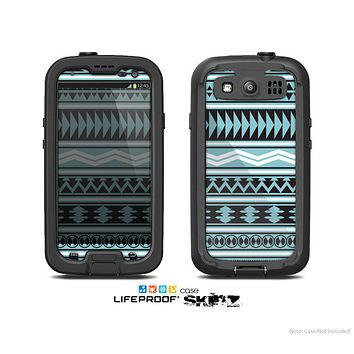 The Vector Blue & Black Aztec Pattern V2 Skin For The Samsung Galaxy S3 LifeProof Case