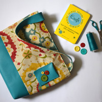 Tote Bag Handmade with Vinyl & Cotton in Bright Blooming Buds