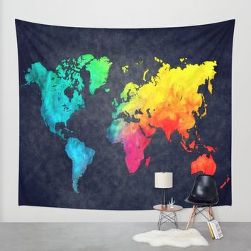 World map watercolor 6 Wall Tapestry by Jbjart | Society6