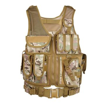 Military Tactical Vest Army Airsoft Molle Vest Combat Hunting Vest with with Holster Paintball Shooting Hunting Molle Vest