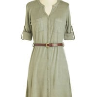 ModCloth Safari, Scholastic Mid-length Long Sleeve Shirt Dress T.A.-Okay Dress in Sage