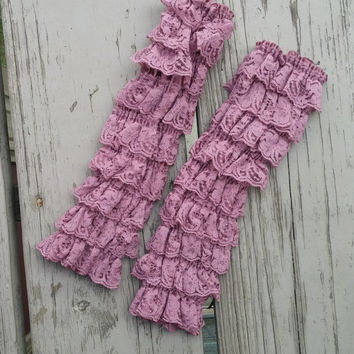 Baby Girl Lace Leg Warmers - Dusty Rose - Vintage - Photos - Birthday - Holiday - Photo Prop