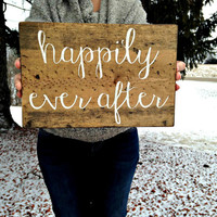 Happily Ever After, Happily Ever After Sign, Wedding Decor, Wood Wedding Signs, Wedding Signs, Home Decor