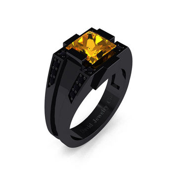 Mens Modern 14k Black Gold 2.0 Carat Princess Citrine Black Diamond Wedding Ring R1020M-14KBGBDCI