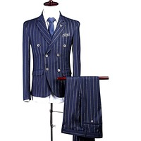 Slim Fit Double Breasted 3 Piece Striped Suit