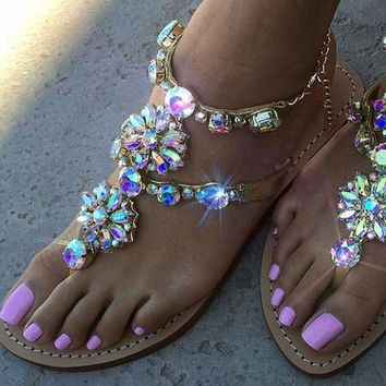 Rhinestones Chains Crystal Flat Gladiator Sandals