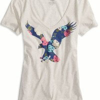 AEO Women's Factory Bright Icon Graphic V-neck T-shirt (Oatmeal)