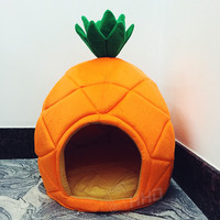 2 Size Creative Cute Pineapple Pet House for Small Dogs Litter Lounger Foldable Kennel