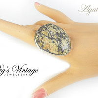Large Agate Fossil Gemstone Adjustable Ring/Silver Plated/Natural Stone Beige And Grey Handmade Vintage Jewelry