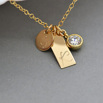 Personalized Tag Necklace / Dainty Cz  Diamond Necklace / Initial Disc / Gold Filled, Sterling Silver, Rose Gold