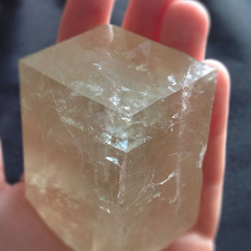 "Iceland Spar Optical Calcite Natural Color Crystal 1.75X1.75"" Rough Viking Prediction Stone, symbolizes True Love, brings friendship peace"