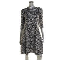 Taylor Womens Jacquard Knit Casual Dress