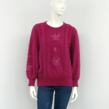 Vintage 80s Fuchsia Angora Sweater, Dolman Sweater, Batwing Sweater, Oversized Sweater, Fuzzy Sweater, Plus Size Sweater, Beaded Sweater