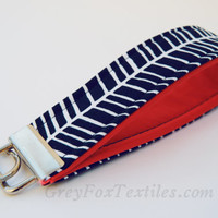 #Navy #Blue #herringbone print #key fob, #key #chain, #wristlet with orange red #coral accent
