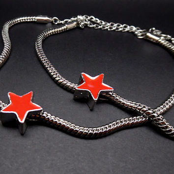 Marvel Bucky Barnes Winter Soldier Red Star Metal Bracelet