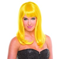 Yellow Solid Color Hollywood Bangs Wig