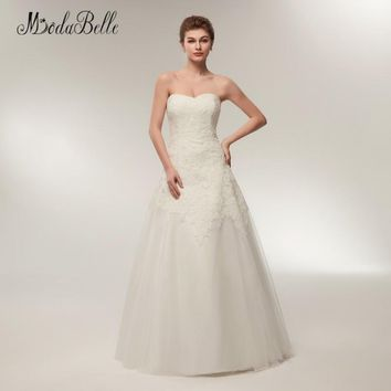modabelle Strapless Beach Style Wedding Dresses Lace Floor Length Sleeveless A Line Wedding Gown 2018 Abiti Da Sposa