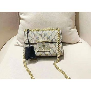 GUCCI high-end bee small lock spell leather chain bag small square bag