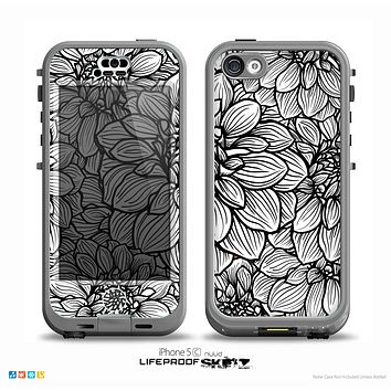 The White and Black Flower Illustration Skin for the iPhone 5c nüüd LifeProof Case